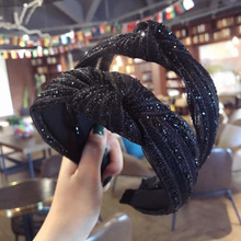Shiny Yarn Gliiter Headband For Women Spring Summer Knotted Hairband Hair Band Wide Hoop Girls Accessories
