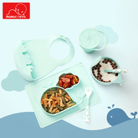 6Pcs/Set Baby Silicone Feeding Food Tableware Set Infant Anti overturning Training Dinner Tray Bowl Kid Dishes Eating Dinnerware