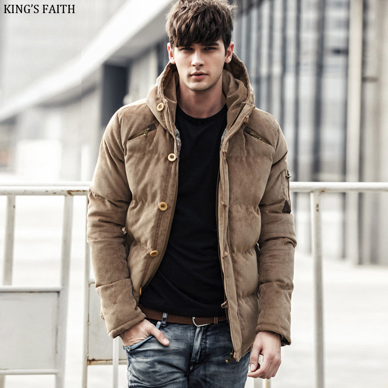 King's Faith Winter Corduroy Thick Hood Jackets Men Casual Warm Coats Brand Parka Cotton Outwear Fit Snow Cold 81601