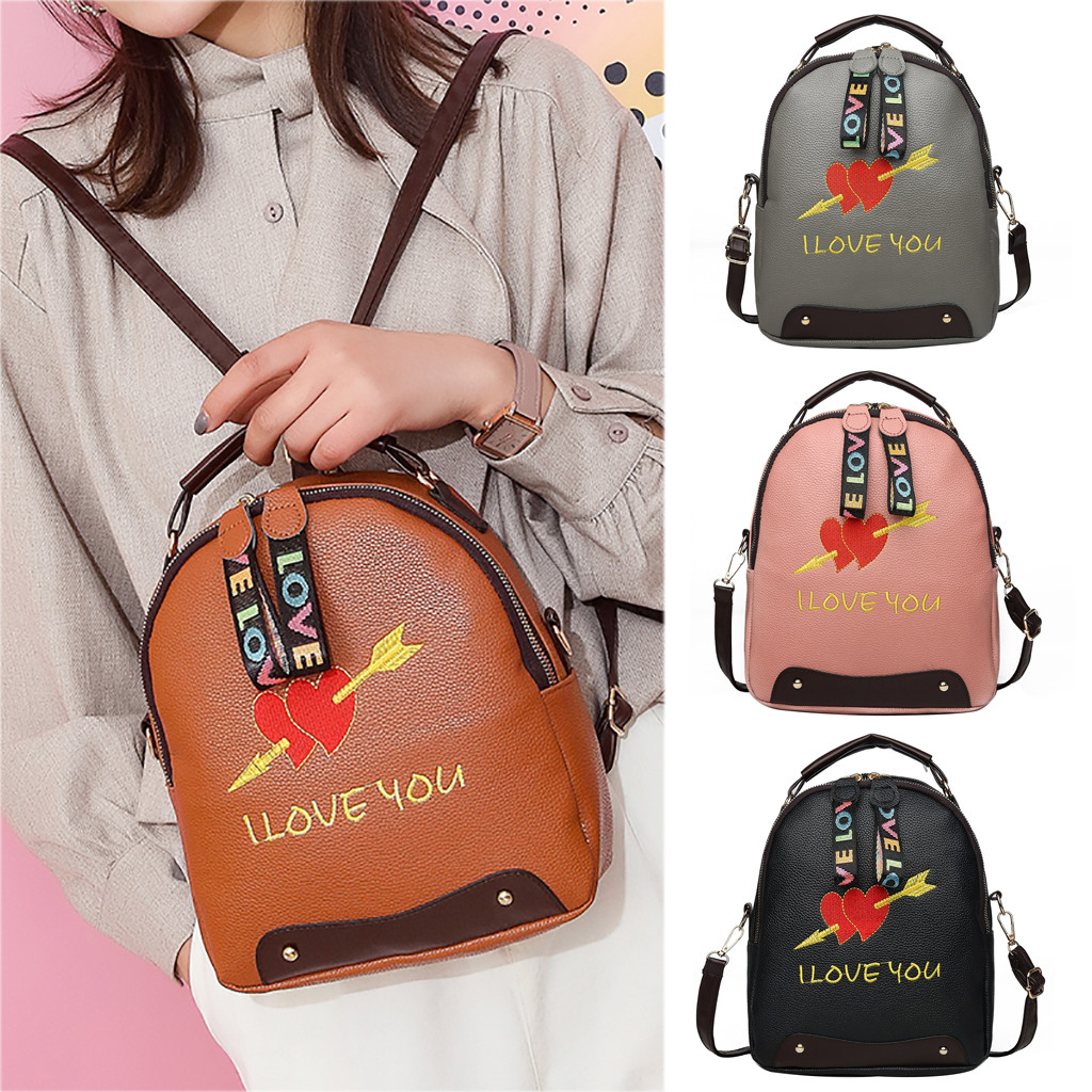 Women Backpack Expression Embroidery Style PU Leather Joker Crossbody Shoulder Bag Multi-function Backpack Student BagWomen Backpack Expression Embroidery Style PU Leather Joker Crossbody Shoulder Bag Multi-function Backpack Student Bag