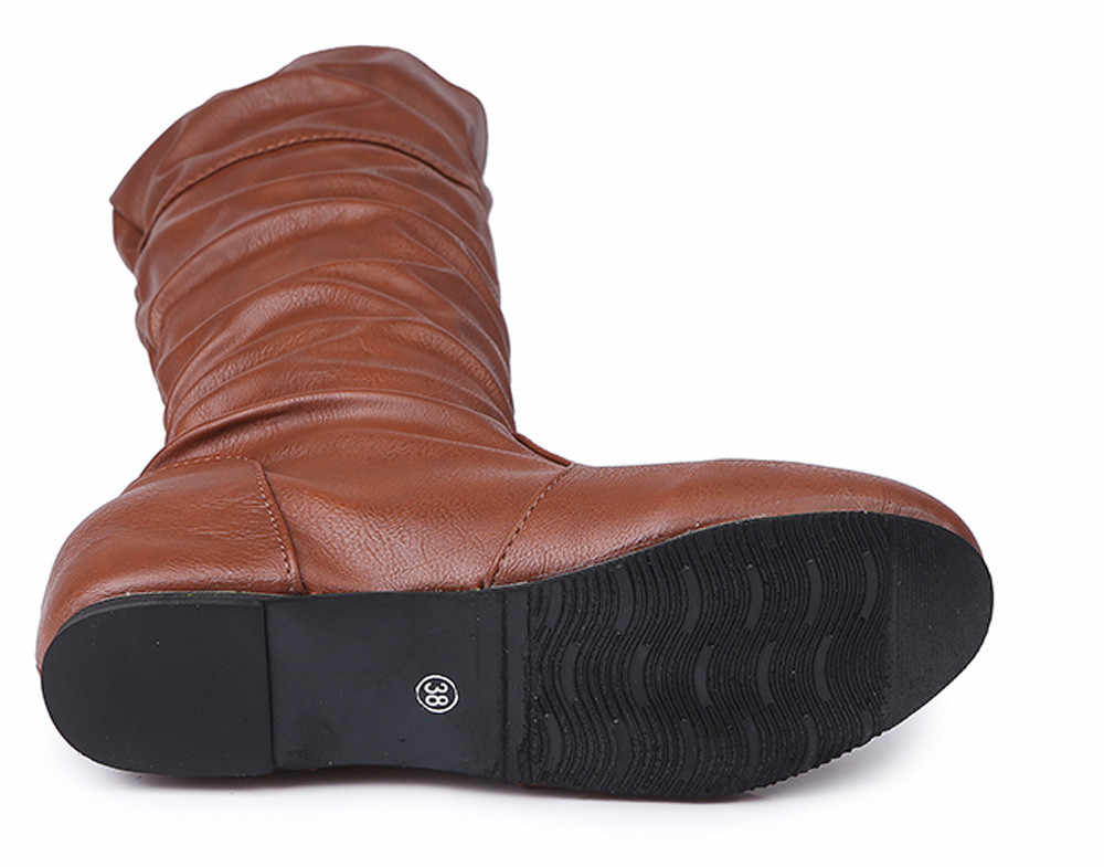 Kadın Kış Düz Düz Renk Martin Sivri Yüksek Uzun Bayan Botları 2018 rahat ayakkabılar Kadın zapatos de mujer Artı Boyutu 36 ~ 43