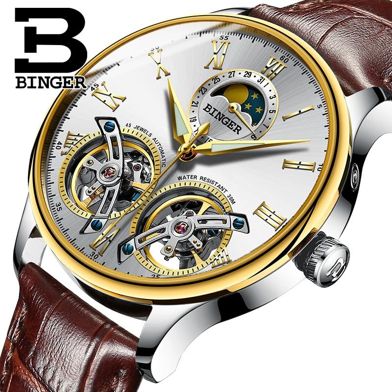 Svizzera orologi uomo di lusso di marca BINGER zaffiro Resistente All'acqua toubillon orologi in acciaio pieno Orologi Da Polso Meccanici B-8606MN-9