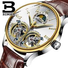 Швейцария часы Мужские люксовый бренд Бингер сапфира водостойкий toubillon полный стали Механические часы B-8606MN-9