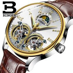 Szwajcarskie zegarki męskie luksusowe marki BINGER Sapphire wodoodporny toulouse automatyczny męski zegarek mechaniczny faza księżyca B 8606MN 9 w Zegarki mechaniczne od Zegarki na