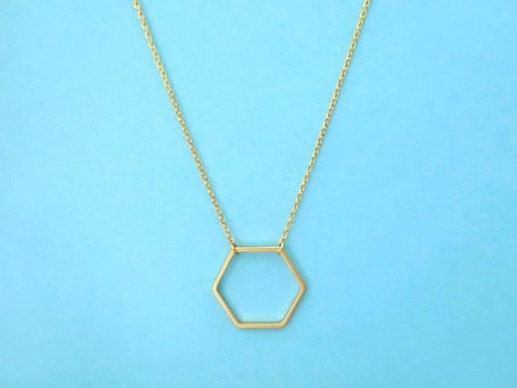 1 pz Linea Aperta Alveare Hexagon Collana Geometrica Hollow Sexangle Collana Sem