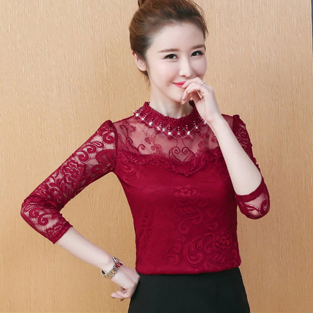 1f6dafdcf24 Elegant Lace White Blouse Shirt 2018 Long Sleeve Plus Size Fashion Women  Blouse Autumn Winter Top Office Ladies Lace Blouses