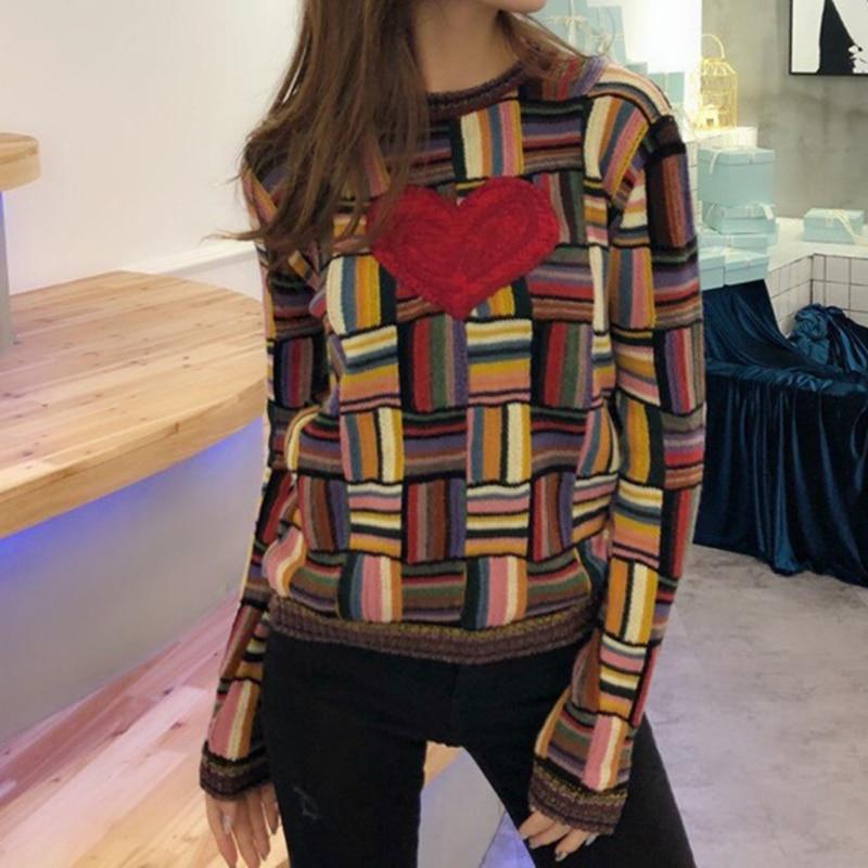 Kadın Giyim'ten Kazaklar'de Vintage Hit Renk Ekose Kazak Moda 2018 Kadın Aşk Kalp Nakış Jakarlı Örgü Kazak Kontrast Renk çizgili kazak'da  Grup 2