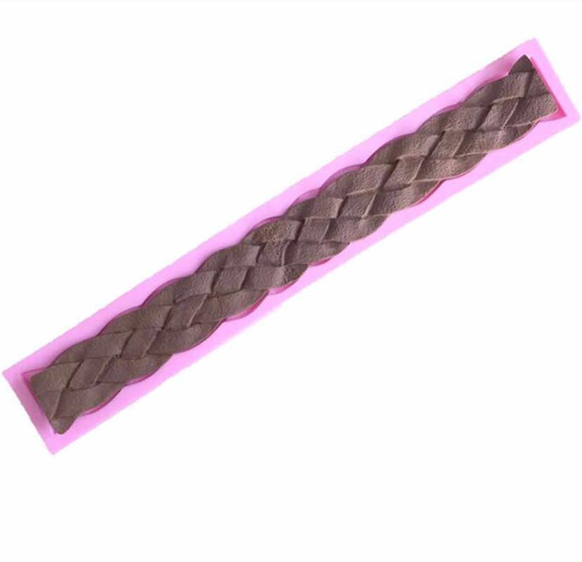 Bện Hình Dạng Dải Bánh Silicone Khuôn, diy sô cô la cookie nướng đường khuôn ren thủ công biên giới fondant trang trí bánh tools