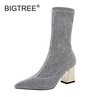 BIGTREE New Women's Fashion Bling Fabric Ankle Boots Sexy Pointed Toe Middle Height High Heels Autumn Winter Boots Size 34 40