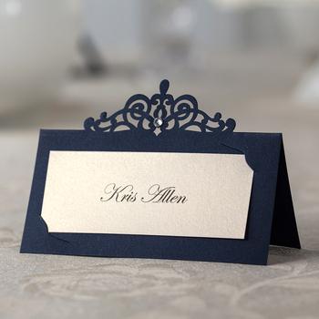 48 sztuk * spersonalizowany bezpłatny druk laserowo wycinany stół miejsce etykiety z imionami dostosowane nazwa rocznicy ślubu karteczki z miejscem na imprezę tanie i dobre opinie I MISS FLY Paper
