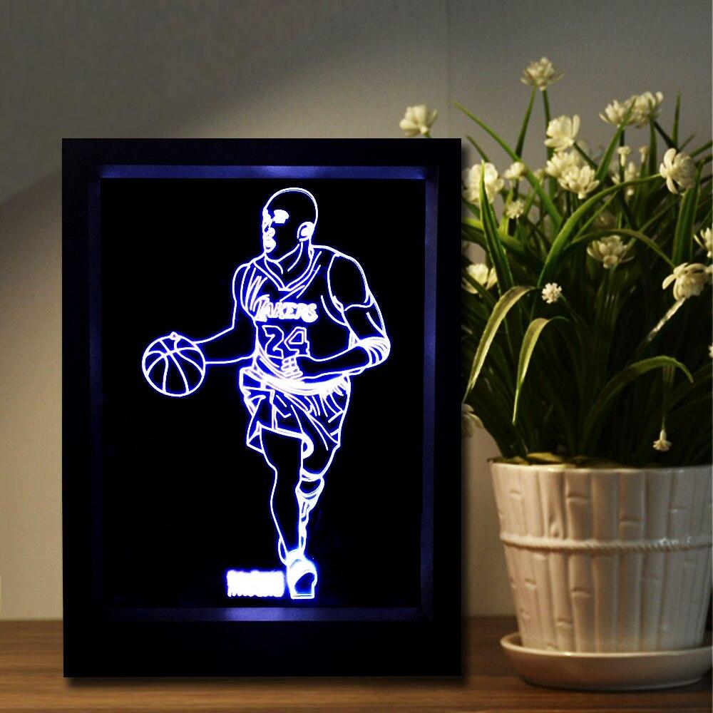 Basketball Superstar Kobe 3D Sport Fans LED Bilderrahmen Nachtlicht ...