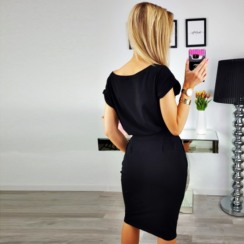 19 New Summer Fashion Women Casual Short Sleeve O-Neck Straight Black Gray Blue Dress Loose Plus Size Pocket Cotton Midi Dress 10
