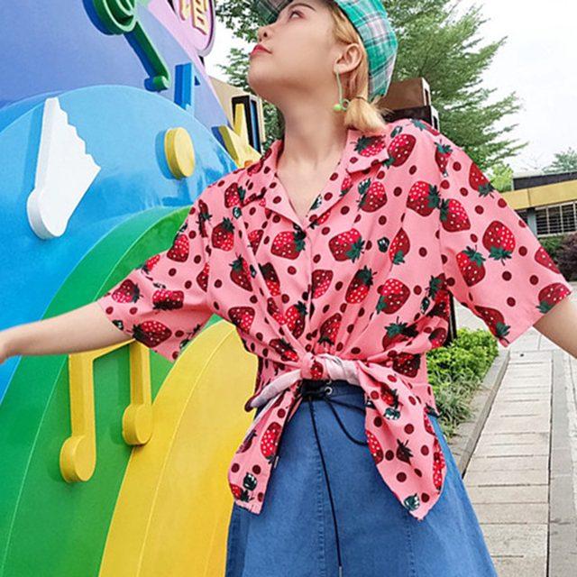 2019 New Women Blouses Holiday Casual Short Sleeve Tops Ladies Strawberry Printed Shirt Korean Summer Fashion Women Clothing 17