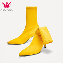A-BUYBEA 2018 Women ankle boots Spring Autumn Pointed Toe Elastic High Boots Slip On High Heel Ankle Boots comfort Women Pumps ladies stretch cloth thin high heel ankle boots fashion slip on pointed toe booties women comfort spring autumn shoes black