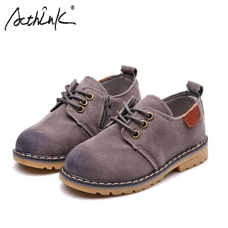 ActhInK New Retro Style Boys Casual Leather Shoes Brand School Kids Frosted Leather Shoes Teen Boys Formal Lace-up Wedding Shoes