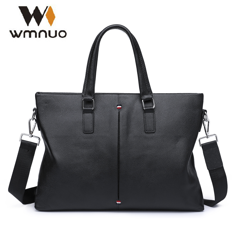 Wmnuo Men Briefcase Bag Handbag Genuine Cow Leather Laptop Bag Casual Man Shoulder bags Men Messenger Computer Business Bag 7005 genuine leather men bags brand men laptop briefcase business bag cow leather handbag shoulder bag messenger bag 1a