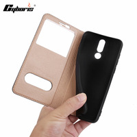 CYBORIS Cases Flip Genuine Leather Cover Case For Mate 10 Lite Maimang 6 Double Window View