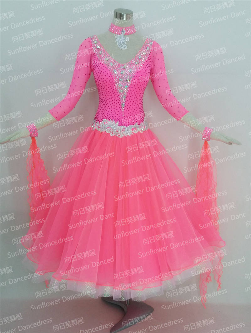 GOODANPAR Women Long Sleeve Lycra Ribbon Ballroom Dance Competition Dress With Bra Leotard Standard Waltz Foxtrot Costume