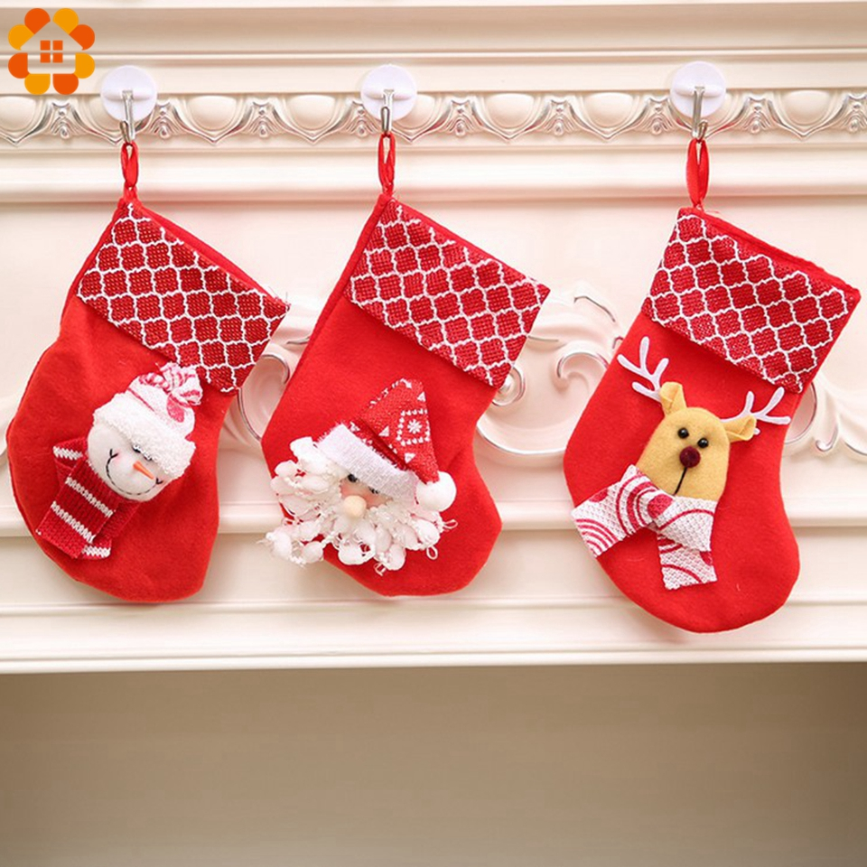 3pcs cute snowmansanta clausdeer christmas stocking gift bagsholders for home christmas party xmas tree kids gifts decoration in stockings gift holders