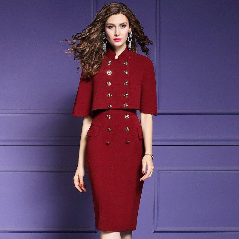 Bureau Sexy Hanche Nouvelles Grande D'affaires rouge Ensemble Vêtements Crayon Solide Robes Printemps Taille Femmes noir Fête Beige Paquet Tenue Dame De Robe Manteau 2019 zwzqrf
