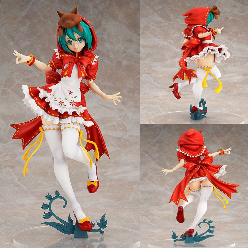 25cm Anime Hatsune Miku PVC Action Figure Toy Little Red Riding Hood Dancing Display Pvc Model Toys Children Birthday Gift