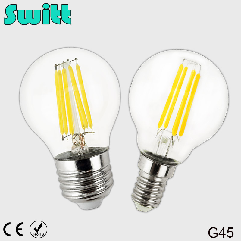 SWITT E27 E14 LED Bulb Filament Light Glass Bulb G45 220V 240V 2W 4W 6W Edison Lamp Lamp Antique Retro Vintage Led high brightness 1pcs led edison bulb indoor led light clear glass ac220 230v e27 2w 4w 6w 8w led filament bulb white warm white
