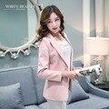 Primavera jaqueta mulheres terno 2016 nova longo-luva um botão mulheres blazer jaqueta curta fêmea magro projeto top coat