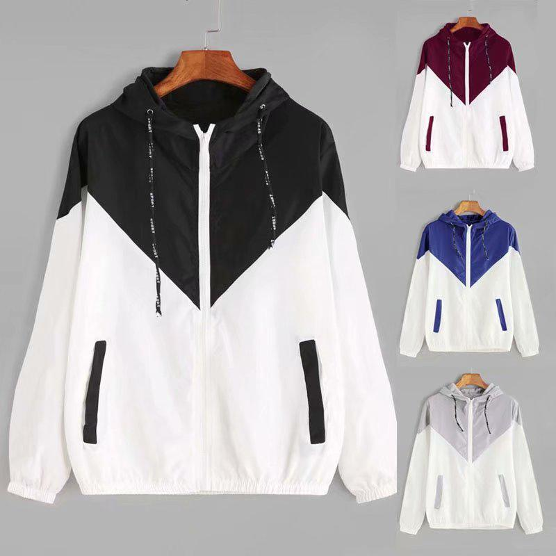 Women Sports   Basic     Jackets   Female Zipper Pockets Casual Long Sleeves Coats Autumn Hooded   Jacket   Two Tone Windbreaker   Jacket