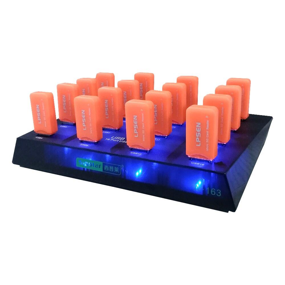 ∞Plástico sipolar negro 16 puerto USB hub 3.0 para duplicador USB ...