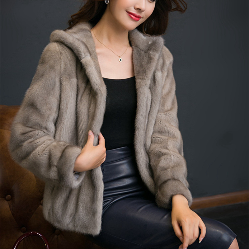 Real Mink Fur Women Regular Coat With Fur Hood Full Sleeves Autumn Winter  Popular Slim Mink Fur Jacket