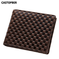Men's Luxury Brand Genuine Leather Plaid Wallet Designer First Layer of Cowhide Men Wallet Slim Long High Quality Purse Famous
