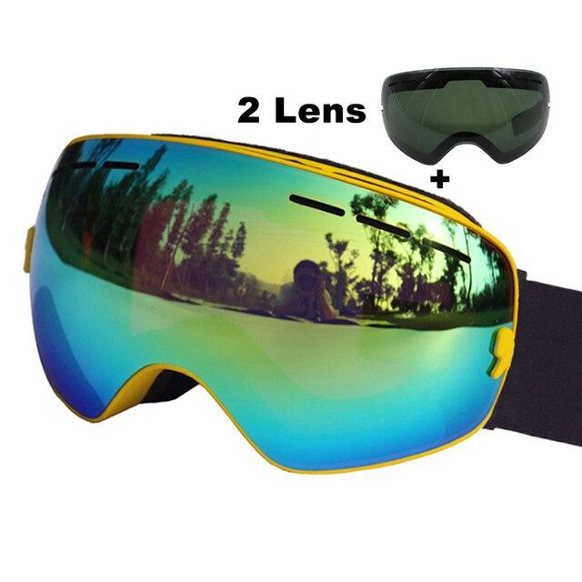 87bb51a68e Ski Goggles Double Layers UV400 Anti-fog Big Spherical Ski Mask Glasses  Skiing Men Women Snow Snowboard Goggles With Black Lens