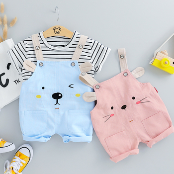 HYLKIDHUOSE 2019 Summer Baby Girls Clothing Sets Infant Clothes Suits Stripe T Shirt Strap Shorts Kids Children Vacation Costume