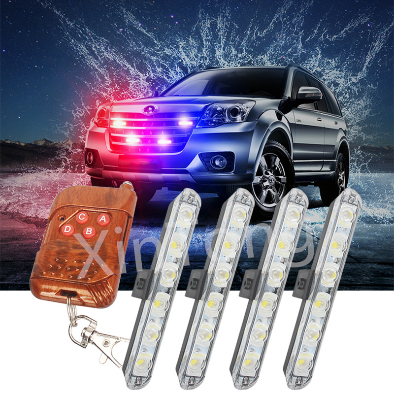 Wireless Remote 4x6/led Ambulance Police light DC 12V Strobe Warning light for Car Truck Emergency Light Flashing Firemen Lights цена и фото
