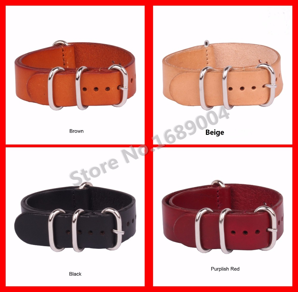 10 pcs/lot Hot Genuine Leather Vintage Style Watch Strap Band Spring Bars, Buckle 18mm/20mm/22/24mm Watch Strap/Band Black/Brown
