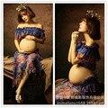 Sessão de Fotos Da gravidez Vestido de Praia chiffon Azul Vestido estampado de Maternidade Grávida Fotografia Adereços Roupas Extravagantes