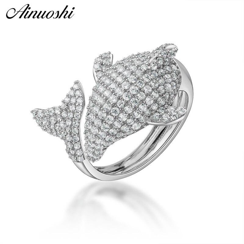 AINUOSHI luxe 925 argent Sterling femmes anneaux de fiançailles de mariage Animal poisson anneau pour princesse amant cadeau anillo de compromiso