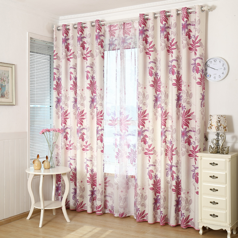 Modern Red/Grey Leaves Printed Faux Linen Curtains For Living Room Bedroom  Sheer Voile Curtains Window Drapes Custom Made In Curtains From Home U0026  Garden On ...