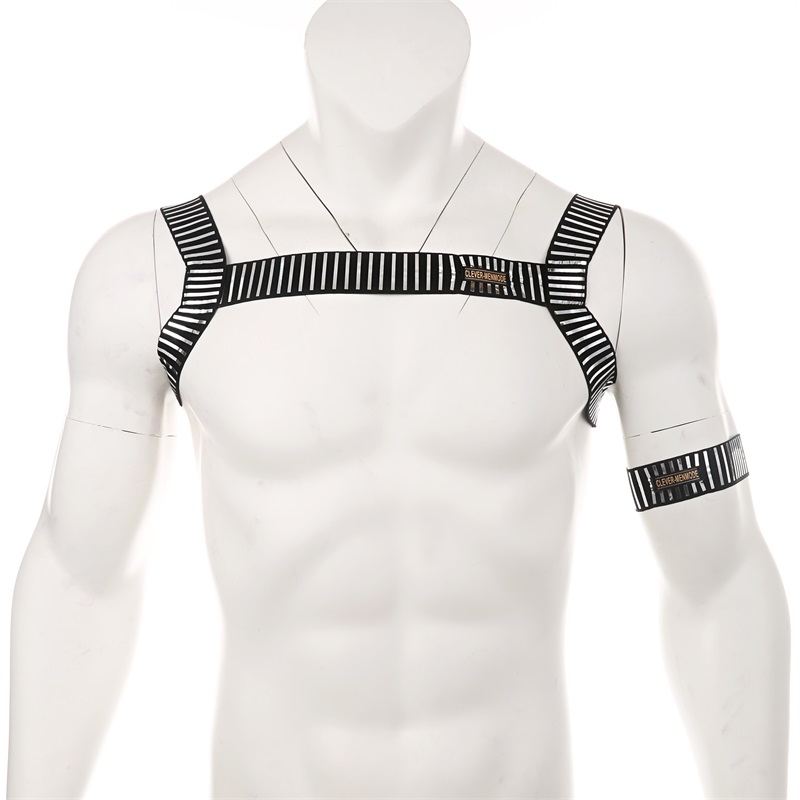 Sexy Lingerie Costume Men Hollow Out Harness Belt Body Chest Elastic Muscle Strap Male Exotic Performance Clubwear With Arm Band