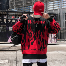 #5240 Autumn High Street Harajuku Hip Hop Flame Sweater Men Lovers Oversize Batwing Round Neck Knitted Sweater Black/Purple
