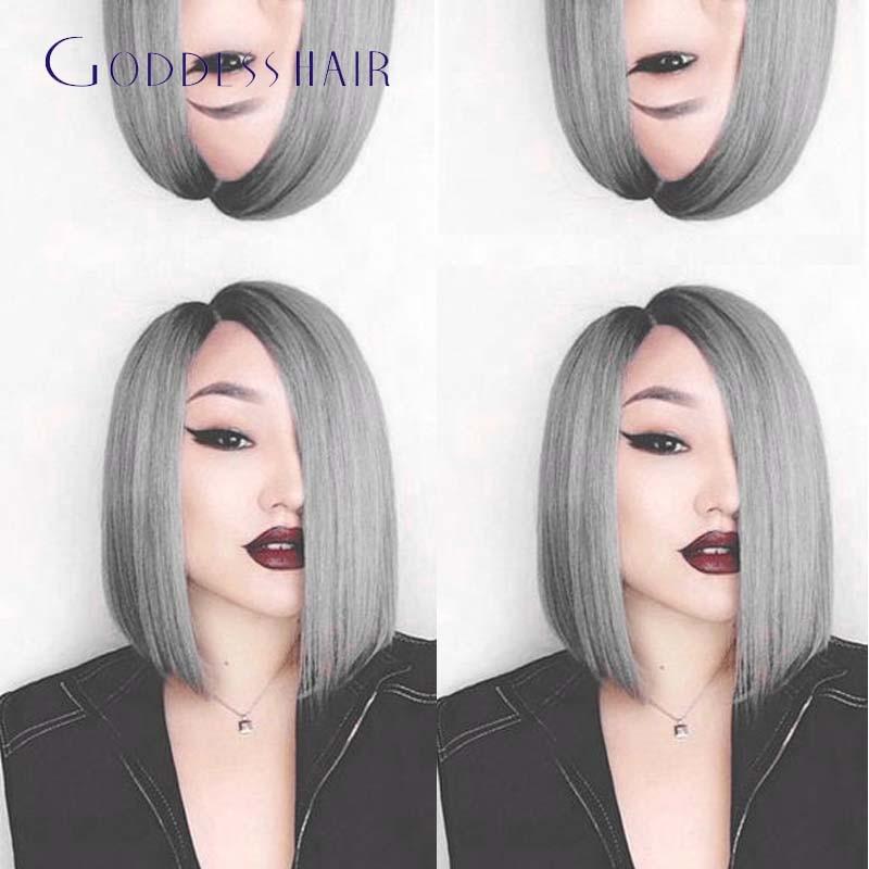 European ombre grey full lace human hair wigs short bob