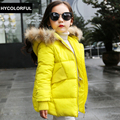 2017 Girls Winter Coats Children Clothing Fashion Fur Collar Hooded Thick Warm Jacket Kids Baby Girl Clothes 5 Colors Age 1-15Y