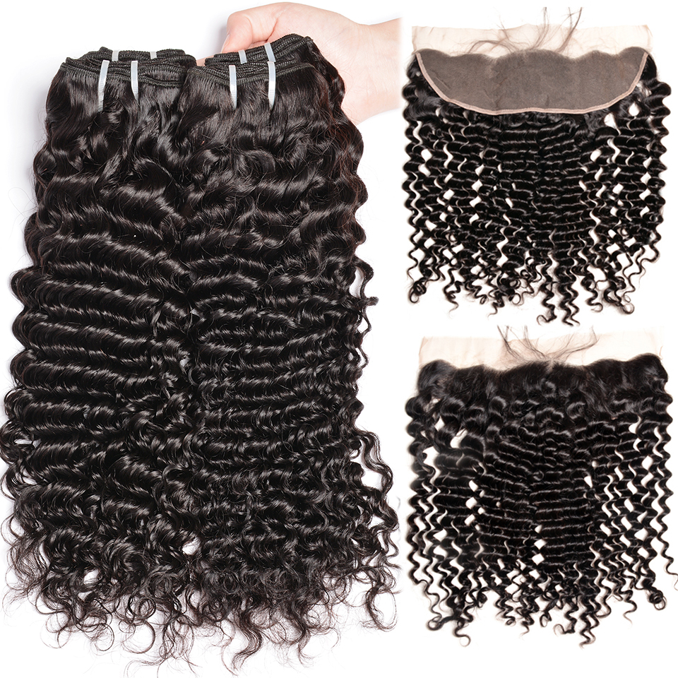 Deep Wave Bundles With Frontal 3 4 Peruvian Hair Bundles With Closure Human Bundle Deals Hair