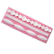 TTLIFE 3D Lace Flower Bead Chain Silicone Fondant Mould Cake Decorating Baking Molds Sugar Paste Tools Wedding