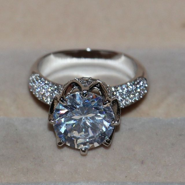 8CT Simulated Diamond 925 Sterling Silver Solitaire Ring
