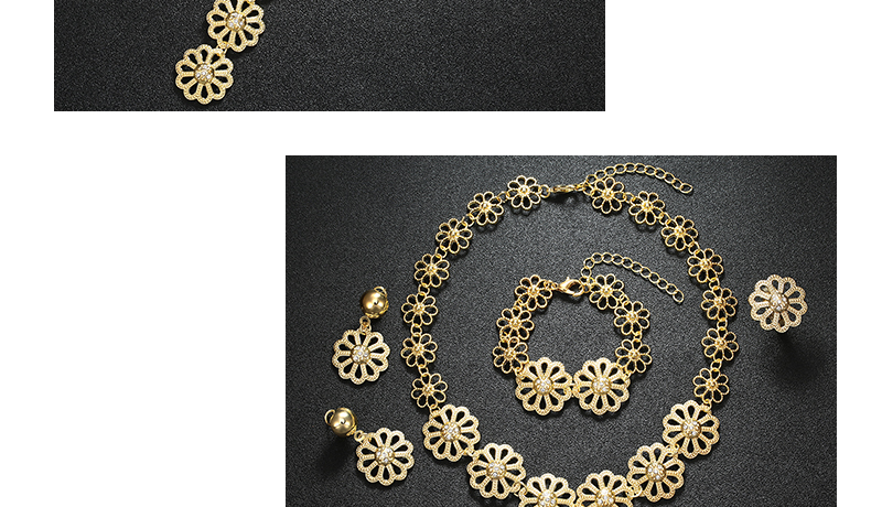 AYAYOO Big Dubai Jewelry Sets For Women Flower Necklace Set Gold Color African Beads Jewelry Set Nigerian Wedding Gift (2)