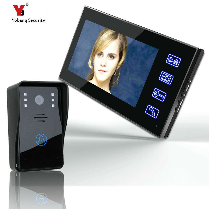 Yobang Security freeship 7 inch Color Video Door bell Phone Intercom System 1 Monitor+One outdoor camera Video intercom Doorbell brand new wired 7 inch color video door phone intercom doorbell system 1 monitor 1 waterproof outdoor camera in stock free ship