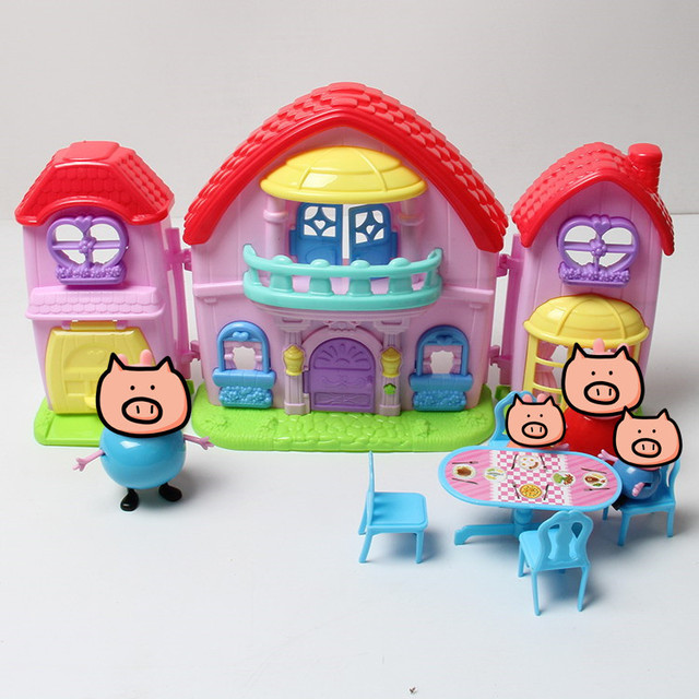 pig toys PVC family House Villa Juguetes sound&light pig toy Action Figures birthday party Baby kid Birthday Gift