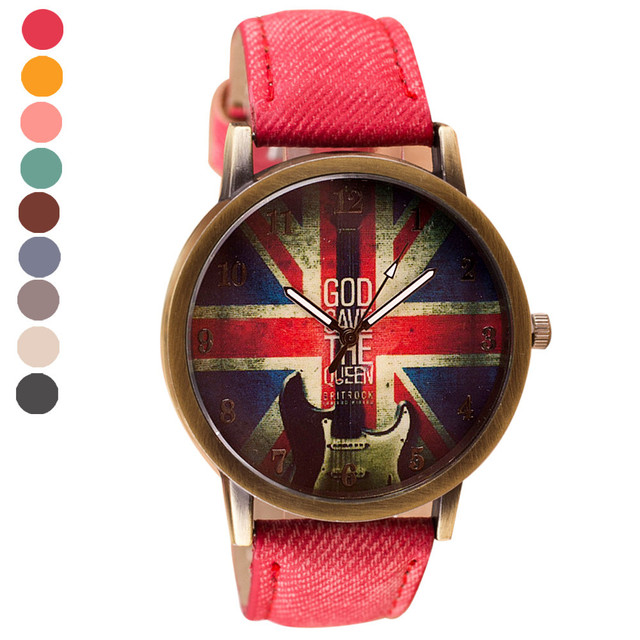 Fashion Casual Canvas watch men Pattern Leather Band Analog Quartz Wrist Watches