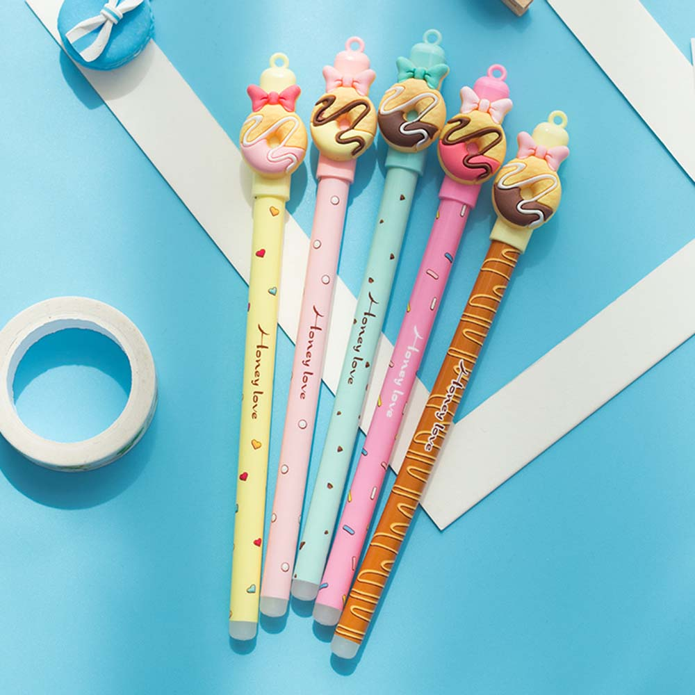 4Pcs/lot Kawaii Donuts Erasable Pen Cartoon Doll Rubbing Gel Pens 0.5mm Blue Ink Material Escolar School & Office Supplies
